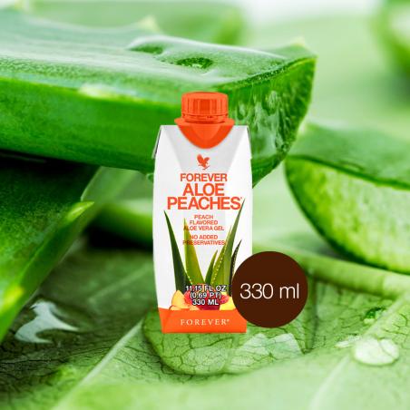 Forever Aloe Vera Peaches™ Mini 330 ml - opakowanie 1 szt. x 330 ml - miąższ z liści aloesu z sokiem z brzoskwiń i witaminą C