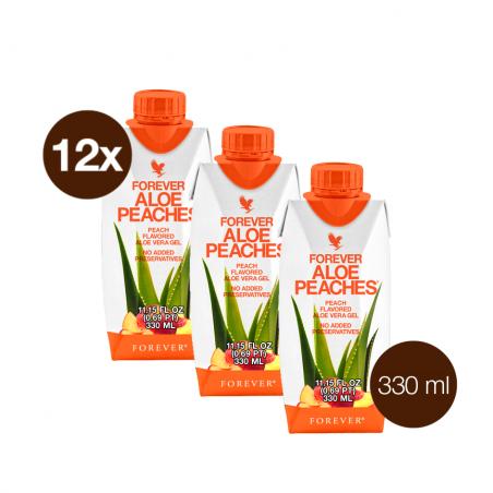 Forever Aloe Vera Peaches™ Mini 330 ml - opakowanie 12 szt. x 330 ml - miąższ z liści aloesu z sokiem z brzoskwiń i witaminą C